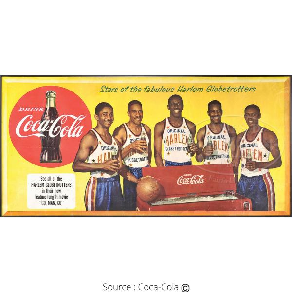Harlem Globetrotters publicité Coca-Cola